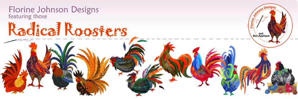 Florine Johnson Designs - Hand & Fusible Rooster Appliques for Quilts & Crafts